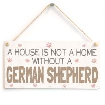 "Meijiafei A House is Not A Home Without A German Shepherd - Dog PVC Sign/Plaque 10""x5"""