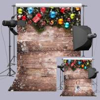 Fanghui Christmas Theme Photo Backdrops Vinyl 5x7ft Snowflake Wooden Floor Wall Photography Background Xmas Holiday Party Decoration Studio Props Booth