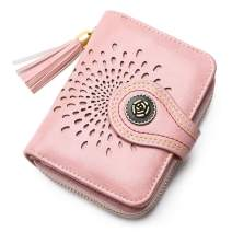 Small Women Wallet RFID Blocking PU Leather Bifold Compact Wallet Credit Card Case Purse for Ladies Girls with ID Window Tassel Zipper Pocket Sunflower Styles/Gift Box 5892PINK