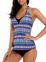 beautyin Women's Tankini Swimsuit Halter Two Piece Bathing Suits Printed Swimwear