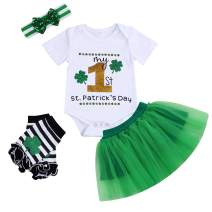 Baby Girl My 1st St. Patrick's Day Clothes Letter Print Romper+Tutu Skirt Leg Warmers with Headband 4PC Outfit Set