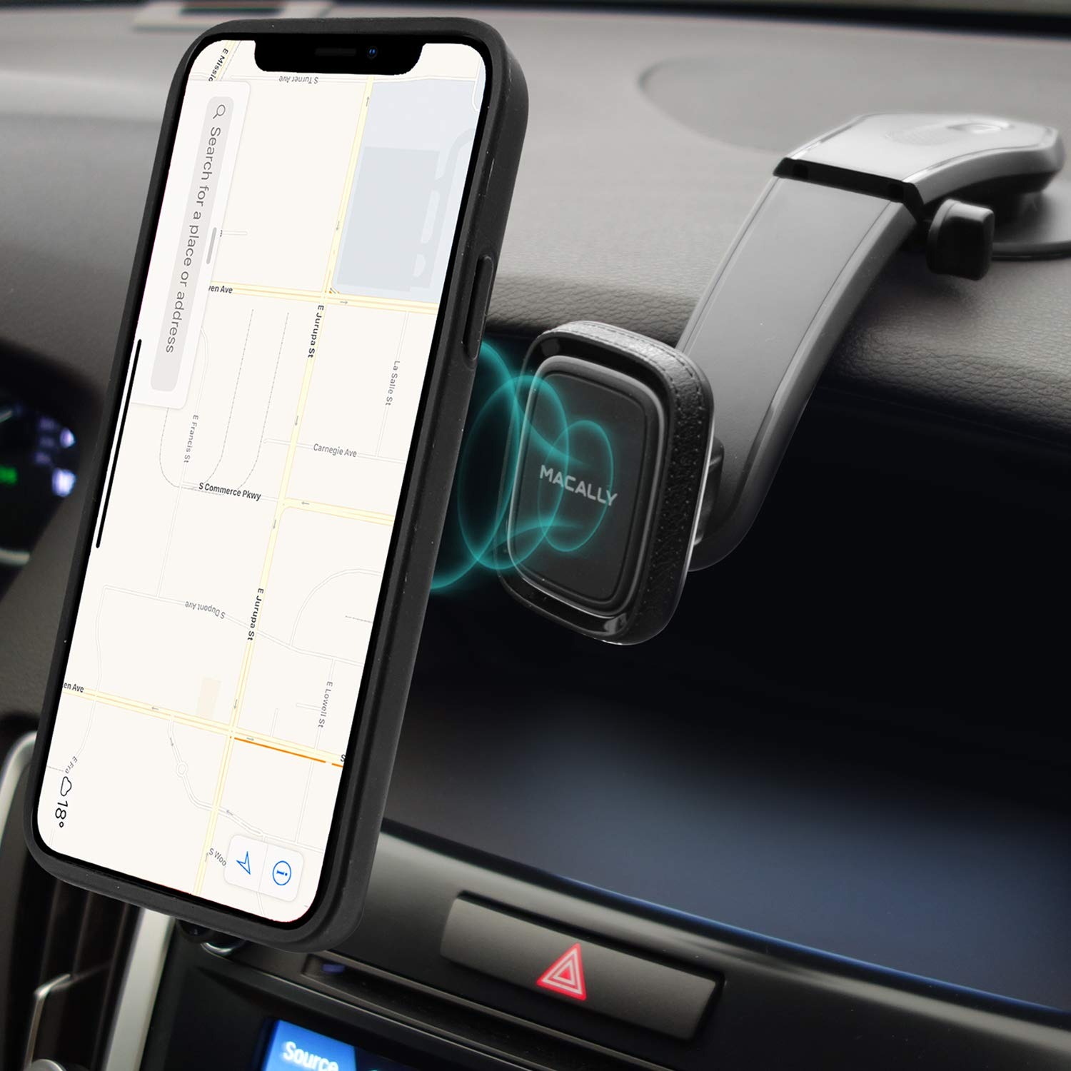 Magnetic Phone Car Mount, Macally Car Phone Mount Holder for Dashboard with Strong Magnet Phone Holder Fits iPhone 11 Pro Xs Max XR X 8 7 6S 6 Plus and Most Smartphones - Black