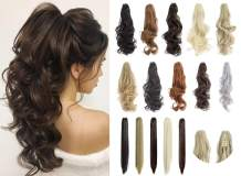 "Felendy Ponytail Extension Claw 18"" 20"" Curly Wavy Straight Clip in Hairpiece One Piece A Jaw Long Pony Tails for Women"