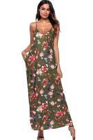JOXJOZ Women's Boho Low V-Neck Adjustable Shoulder Straps Maxi Dress