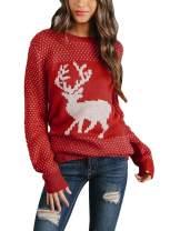 Sidefeel Women Christmas Pullover Sweater Cute Reindeer Jumper