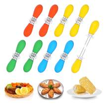 Unves 18Pcs/9 Pairs Corn On The Cob, Stainless Steel Corn Holders Sweetcorn Double Fork Corn Skewers, Interlocking Design Cooking Forks for BBQ Parties Camping