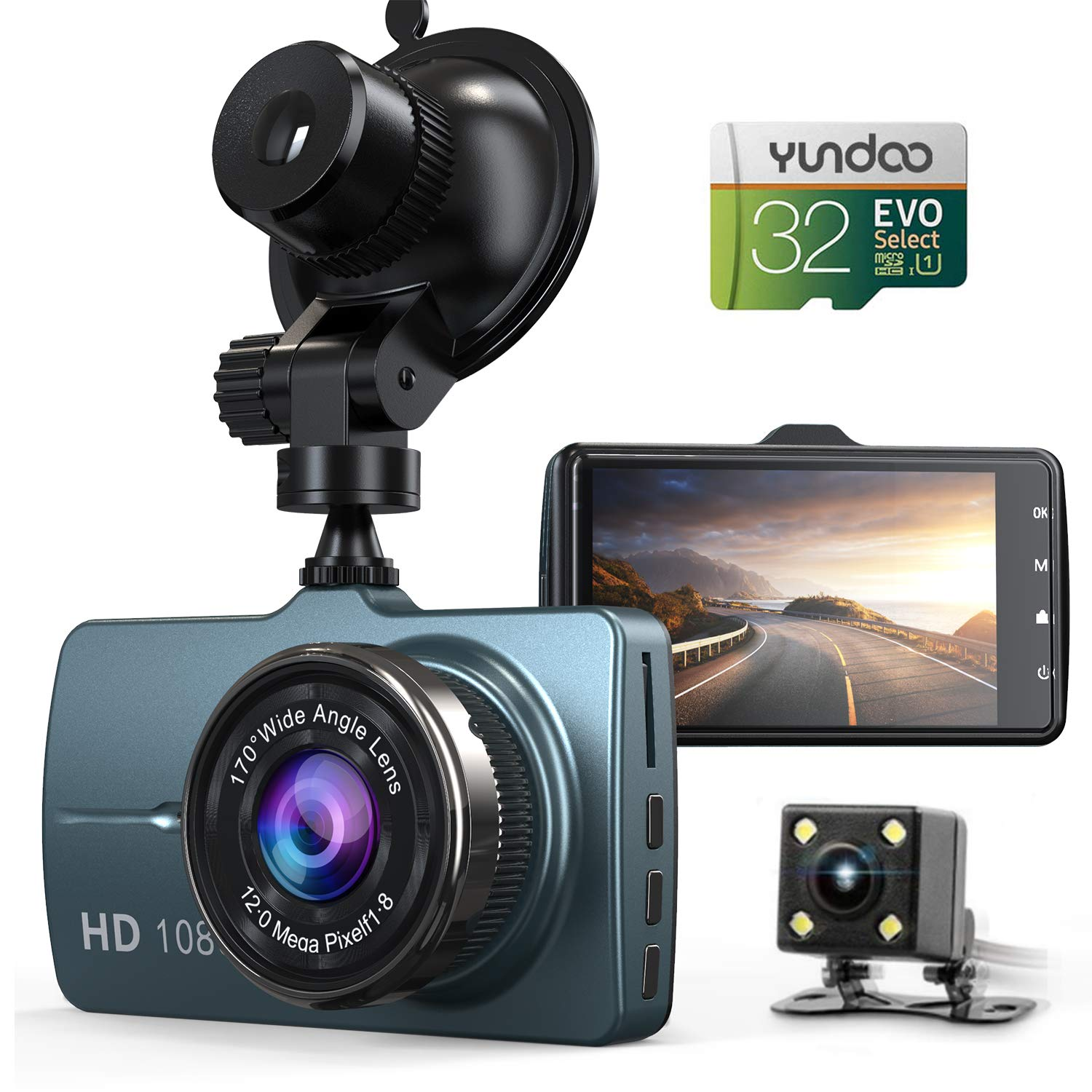 "Dash Cam Front and Rear Car Camera, 1080P 3.2"" Dashboard Camera with 32GB SD Card, 170°Wide Angle, Night Vision Dashcam for Cars, Driving Recorder with G-Sensor, Loop Recording, Parking Monitor"