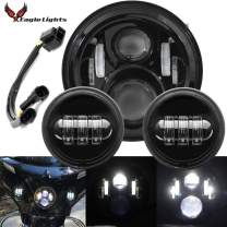 Eagle Lights Harley Davidson 7 inch LED Headlight - 2014 and Newer Road King, Street Glide 4.5 inch Spot Lamps, Passing Driving Lights and Dual Bulb Wire Harness (Black)