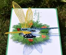 CUTPOPUP Greeting Christmas Pop Up Card with Christmas Dragonfly- Sophisticated Design, Highly Handmade Skilled- Great Gift for Kids, Animal Lovers in Birthday, Anniversarie- Includes elegant envelope
