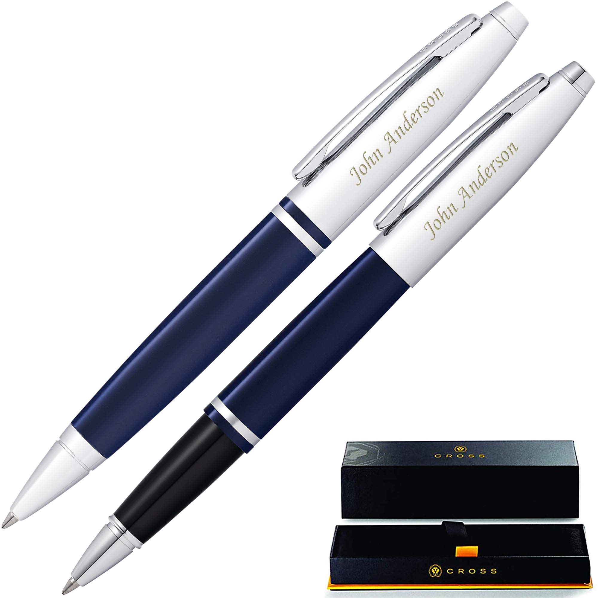 Cross Pen Set | Engraved/Personalized Cross Calais Ballpoint and Rollerball Double Pen Gift Set with Case - Blue. Engraved gift for man or women, with your custom name or message