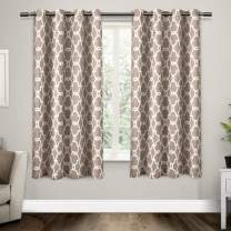 Exclusive Home Curtains Gates Sateen Blackout Thermal Window Curtain Panel Pair with Grommet Top, 52x63, Taupe, 2 Piece