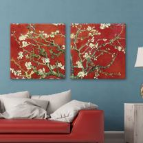 """wall26 2 Panel Square Canvas Wall Art - Almond Blossom in Red by Vincent Van Gogh - Giclee Print Gallery Wrap Modern Home Decor Ready to Hang - 12""""x12"""" x 2 Panels"""