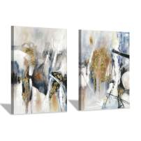 Abstract Canvas Wall Art Picture: White & Brown Hand-Painted Painting Artwork for Bedroom (16'' x 12'' x 2 Panels)