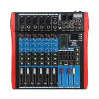 XTUGA Professional Audio Mixer Sound Board Console ES602 USB/MP3/Bluetooth Stage Audio Mixer Built-in Digital Effect Mixer Music Mixer 7 Channel Mixer +48Vpower (red)
