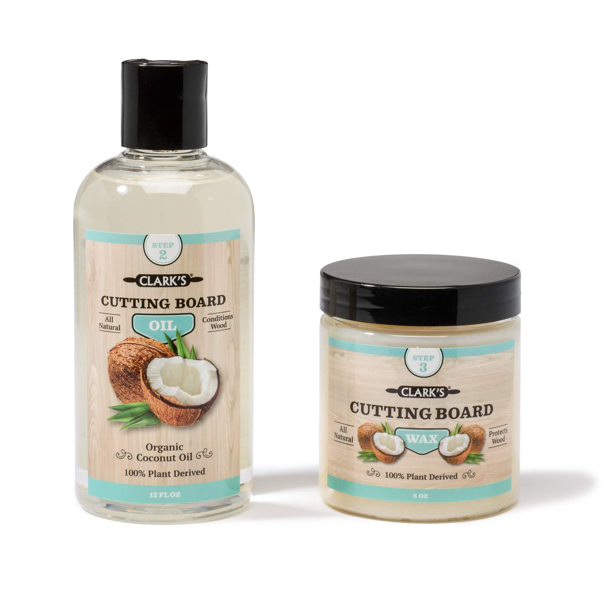 Coconut Cutting Board Oil & Wax (2 Pack) by CLARK'S | Made with Refined Coconut Oil, Natural Beeswax and Carnauba Wax | Does Not Contain Mineral Oil