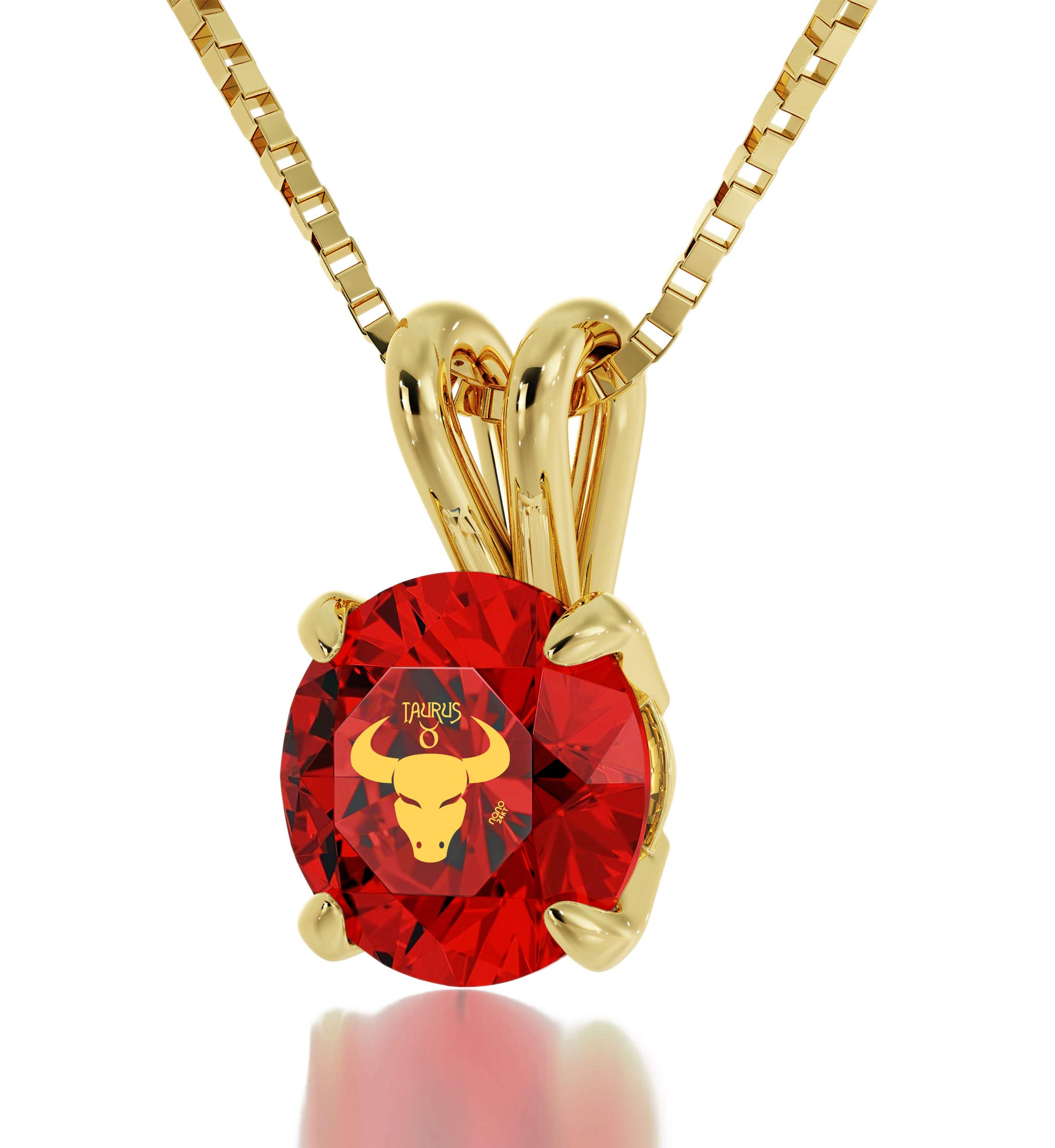"""Gold Plated Taurus Necklace Zodiac Pendant for Birthdays 20th April to 20th May 24k Gold Inscribed with Star Sign and Symbol on Solitaire Set Swarovski Crystal Stone, 18"""" Gold Filled Chain"""