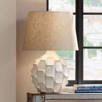 Cosgrove Mid Century Modern Table Lamp Ceramic White Glaze Light Brown Linen Drum Shade for Living Room Family Bedroom - Possini Euro Design