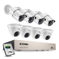 ZOSI 8CH 1080P Security Camera System with 1TB Hard Drive H.265+ 8Channel 1080P HD Video DVR Recorder and 8pcs 1920TVL 1080P Weatherproof Surveillance CCTV Cameras with 100ft/65ft Night Vision