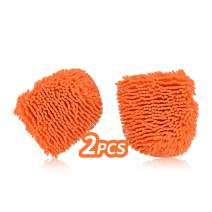 Vgo 2Pcs Microfiber Chenille Super Absorbent Wash and Wax Glove,Professional Cleaning at Home, Kitchen, Hand car Washing Care (Orange, CC008)