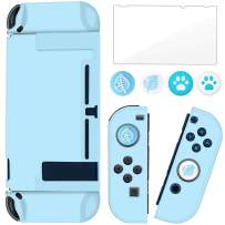 BRHE Dockable Switch Protective Case Cover for Nintendo Switch Joy-Con Controllers with Glass Screen Protector, Anti-Scratch Shock-Absorption Grip Cover - Blue