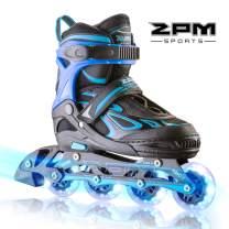 2PM SPORTS Vinal Girls Adjustable Inline Skates with Light up Wheels Beginner Skates Fun Illuminating Roller Skates for Kids Boys and Ladies…