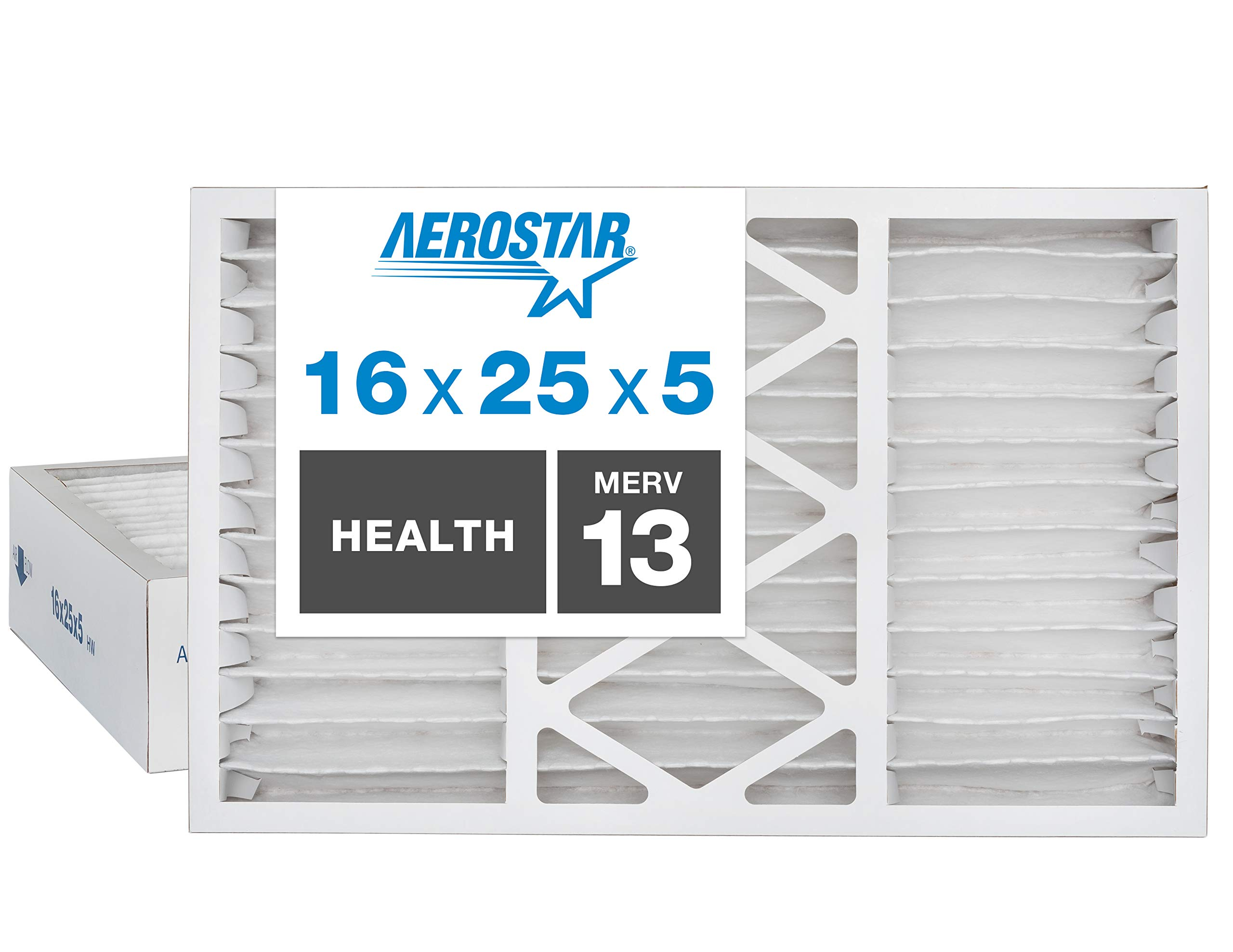 """Aerostar Home Max 16x25x5 MERV 13 Honeywell Replacement Pleated Air Filter, Made in the USA, Captures Virus Particles, (Actual Size: 15 7/8"""" x 24 3/4"""" x 4 3/8""""), 2-Pack,White"""