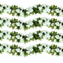 HEBE 4 Pack (29.8 FT) Artificial Rose Vine Flowers Plants Realistic Silk Fake Flowers Garland Hanging Baskets Rose Ivy for Home Ceremony Wedding Arch Garden Indoor Outdoor Craft Art Wall Decor