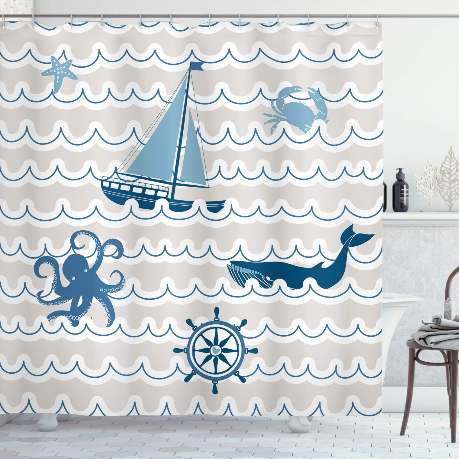 """Ambesonne Nautical Shower Curtain, Wave Pattern with Nautical Elements Octopus Crab Starfish Whale Art, Cloth Fabric Bathroom Decor Set with Hooks, 75"""" Long, Beige Blue"""