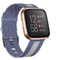 ZEBRE Woven Bands Compatible with Fitbit Versa 2 / Versa/Versa Lite, Breathable Woven Fabric Strap, Reflective Strip Replacement Wristbands Accessories Women Man for Versa Smart Watch
