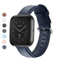 MEFEO Compatible with Fitbit Versa Bands, Genuine Leather Band Wristband Replacement Strap for Fitbit Versa/Versa 2 / Versa Lite Edition Men Women