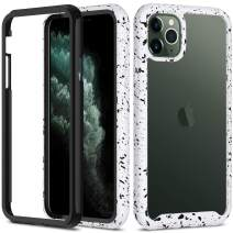 iPhone 11 Pro Max Case, Aeska [Shock Absorbent] Dual Layer Hybrid Shockproof Defender Heavy Duty Crystal [Clear] Hard Back Non-Slip Soft TPU Rubber Bumper Protective Case for iPhone 11 Pro Max (White)