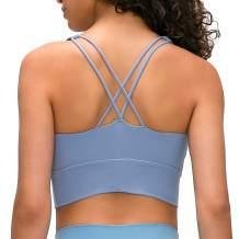 Lavento Women's Strappy Sports Bra Long Line Padded Light Support Workout Yoga Bra Tops