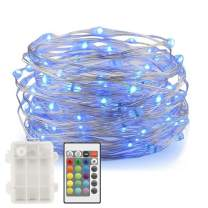 Ylife Fairy Lights Battery Operated, 16.4 Ft 50 LED Waterproof Warm White Multi String Lights with Remote, Decorative Copper Wire Light for Festival Party (16 Colors)