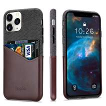 """Lopie [Sea Island Cotton Series] Slim Card Case Compatible for iPhone 11 Pro Max 2019 (6.5""""), Fabric Protection Cover with Leather Card Holder Slot Design, Coffee"""