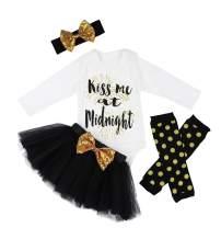 Baby Girl First New Year Tutu Dress Outfit My 1st New Year Romper + Leg Warmers + Headband+Tutu Dress