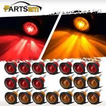 "Partsam 20 x 3/4"" Red/Amber Led Marker Bullet Truck Trailer Turn Signal Lights, Sealed 3/4 Round Led Trailer Lights Grommet Mount, 3/4 led Marker Lights Waterproof, 3/4 Round led Lights"