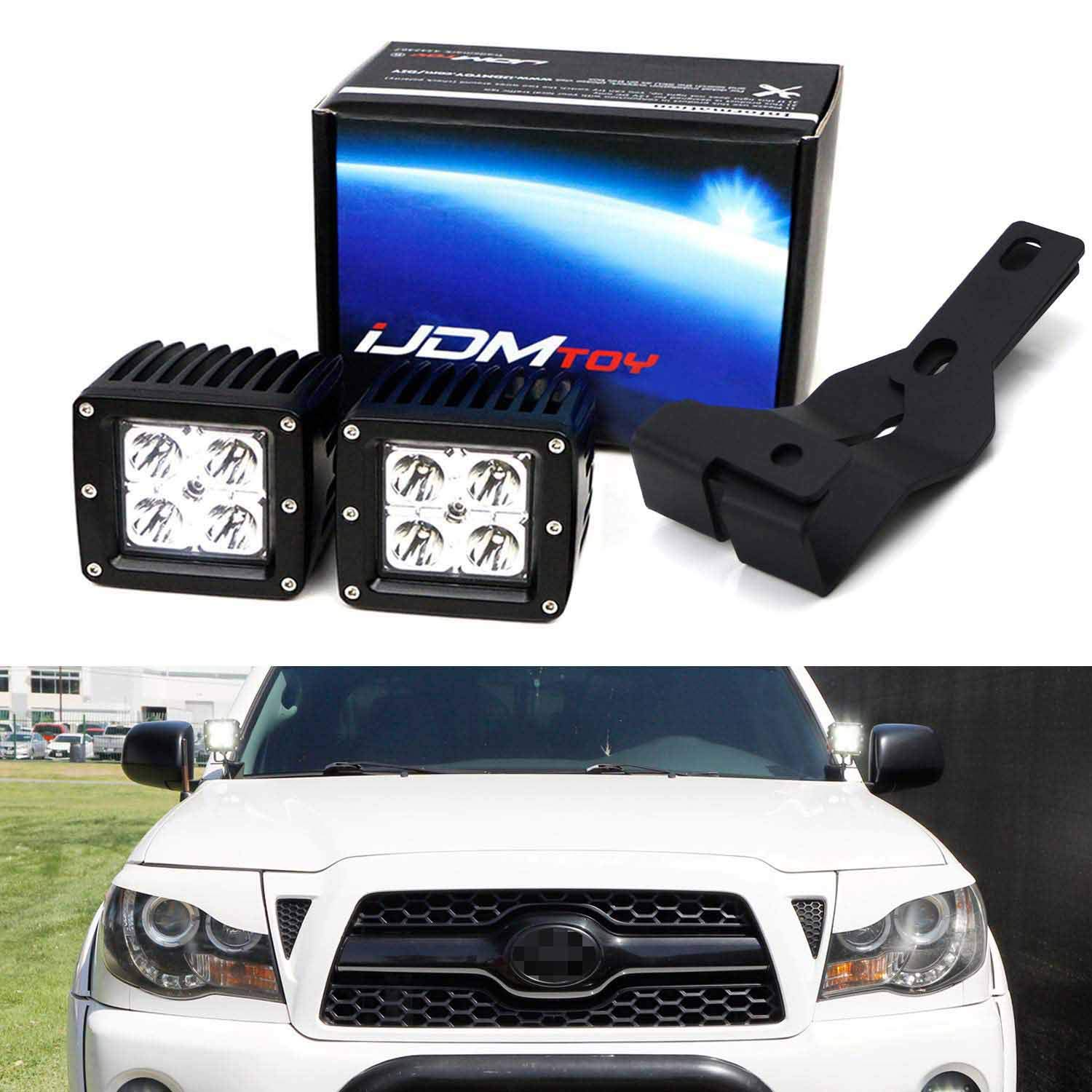 iJDMTOY A-Pillar LED Pod Light Kit Compatible With 2005-2015 Toyota Tacoma, Includes (2) 20W High Power CREE LED Cubes, Windshield A-Pillar Mounting Brackets & On/Off Switch Wiring Kit