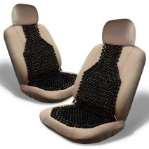 Zone Tech Set of 2 Classic Black Premium Quality Double Strung Wooden Beaded Ultra Comfort Massaging Car Seat Cushion