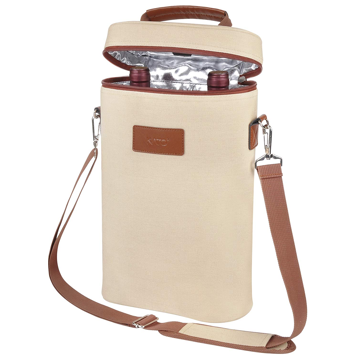 Tirrinia 2 Bottle Wine Tote Carrier - Insulated Portable Padded Versatile Canvas Cooler Bag for Travel, BYOB Restaurant, Wine Tasting, Party, Great Christmas Day Gift for Wine Lover, Beige