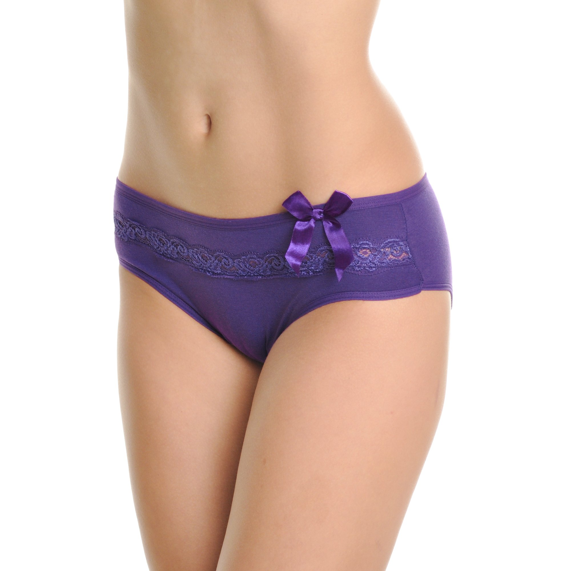 Angelina Cotton Hiphugger with Rose Lace Trim (6-Pack), G6236_UL