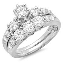 Dazzlingrock Collection 1.80 Carat (ctw) 14K Gold Round Diamond Ladies 3 Stone Bridal Engagement Ring Matching Band Set