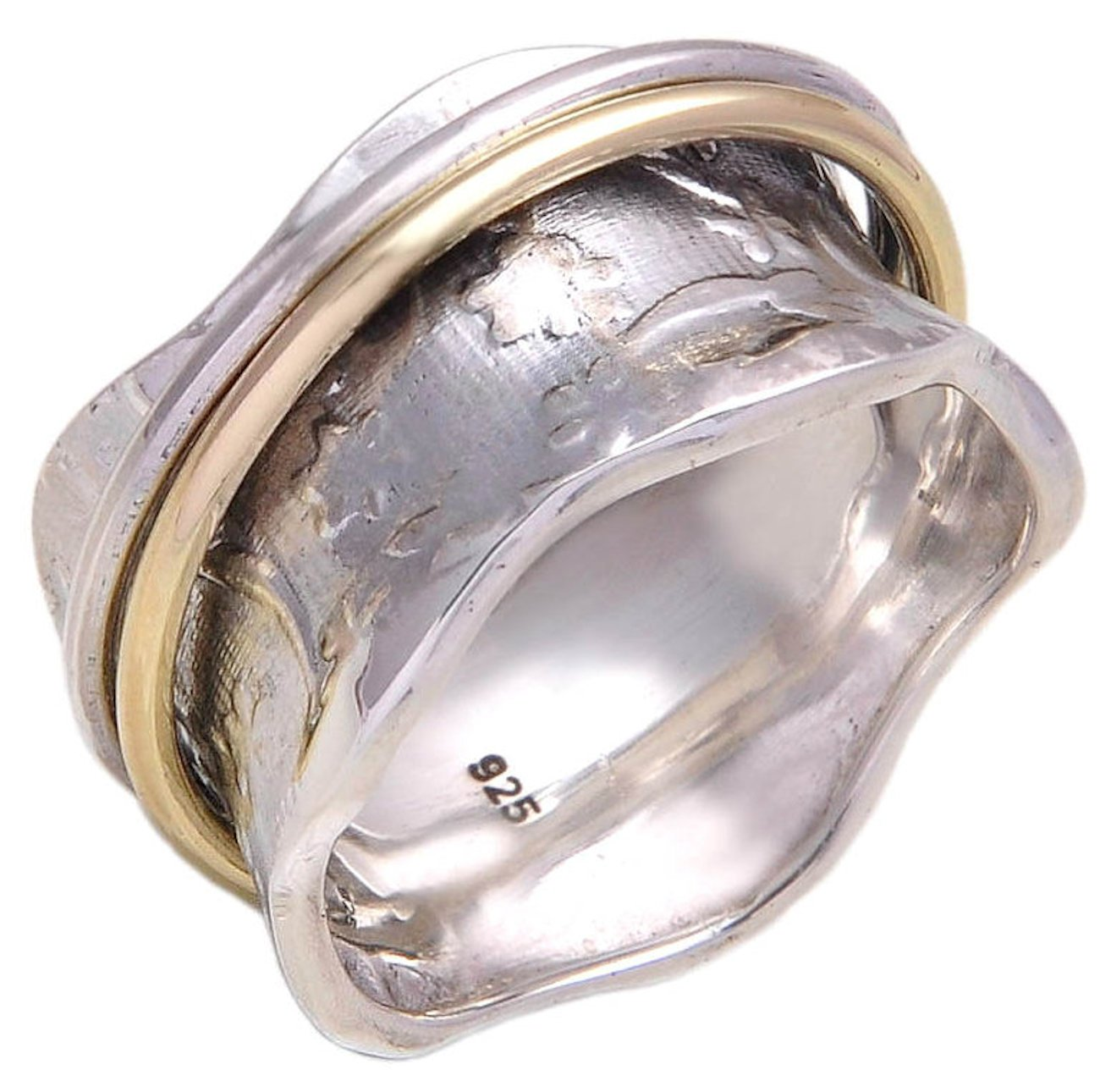 Energy Stone 925 Sterling Silver Meadow Meditation Spinner Ring for Women with Rounded Brass and Silver Spinners (Style US04)