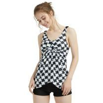 KIWITATA Women Two Piece Ruched Tankini Swimsuit Retro Houndstooth Flowy Bathing Suits