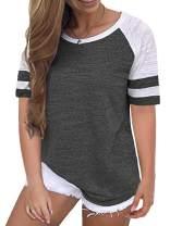 VISLILY Women's Plus-Size Tops Raglan T-Shirts Summer Striped Color Block Tunics