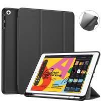 "Fintie SlimShell Case for New iPad 7th Generation 10.2 Inch 2019 with Built-in Pencil Holder - Smart Stand Soft TPU Back Cover, Auto Wake/Sleep for iPad 10.2"" Tablet, Black"
