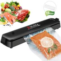 Aitsite Automatic Food Vacuum Sealer Machine Portable Mini Vacuum Sealer for Food Preservation Saver, Dry and Moist Modes Kitchen Meat Vacuum Sealer with 15 Sealing Bags