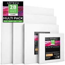 "Arteza Painting Canvas Panels Multi Pack, 6x6"", 8x8"", 10x10"", 12x12"" Set of 28, Primed White, 100% Cotton with Recycled Board Core, for Acrylic, Oil, Other Wet or Dry Art Media, for Artists"