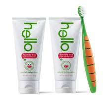 Hello Oral Care Kids Fluoride Free and SLS Free Toothpaste Twin Pack with BPA-Free Kids & Toddler Toothbrush, Natural Watermelon