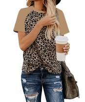 EZBELLE Women's Raglan Cute Shirts Short Sleeve Leopard Print Top Basic T Shirt