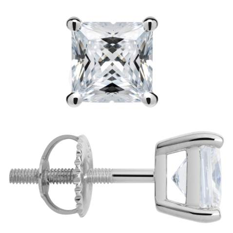7mm Princess Cut Square Lab Blue Opal Solitaire Stud Earrings Solid 925 Sterling Silver